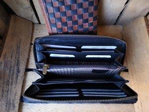 RFID handgemaakte Clutch - Rode Clutch - Lederen clutch - Anti skim portemonnee - Gevlochten clutch - zwart bruin clutch