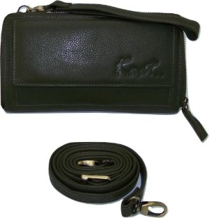 Rits portemonnee tasje Kaat Mosgroen (Nappa structuur leer)