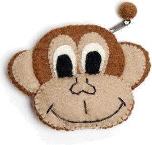 Vilten portemonnee aap bruin-