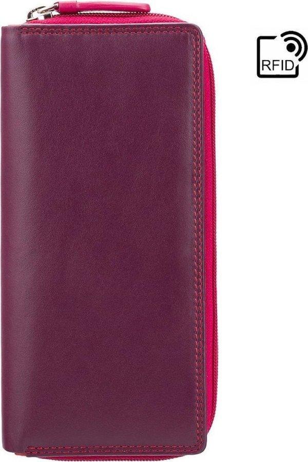 Visconti Dames Portemonnee - Leer - RFID - 16 pasjes - Rainbow Collectie - Pruim-Multi (RB55 PM)