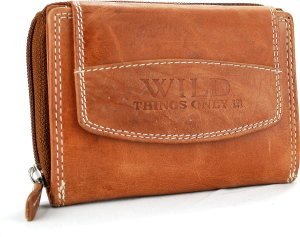 Wild Leather Only !!! Dames Billfold -RS-36-17 Licht-coqnac -