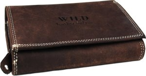 Wild Leather Only !!! Dames Overslagportemonnee Donkerbruin