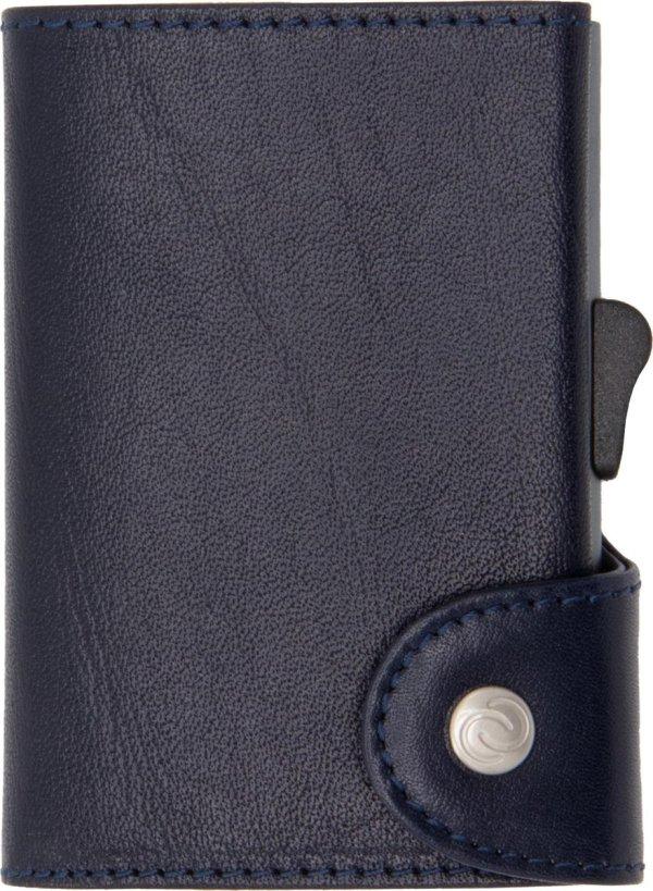 XL Vegetable Tanned Wallet C-secure, ruimte voor 8 tot 12 passen, Ruimte voor Briefgeld en Muntgeld, met Aluminium Pasjeshouder, RFID beveiliging (Donkerblauw)