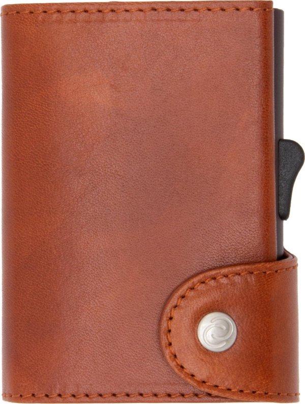 XL Vegetable Tanned Wallet C-secure, ruimte voor 8 tot 12 passen, Ruimte voor Briefgeld en Muntgeld, met Aluminium Pasjeshouder, RFID beveiliging (Roodbruin)