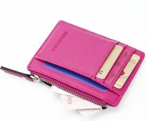 ZILOU® Compacte Mini Wallet Portemonnee - Pasjeshouder Etui - Kaarthouder - Kunstleer - Rosé Rood