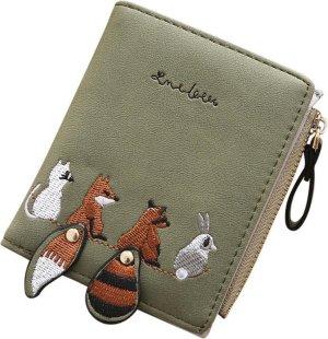 ZILOU® Portemonnee - Mini Wallet - Compact - Dierenmotief - Dames - Kunstleer - Groen
