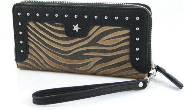 Zebra zwart-camel portemonnee met polsband