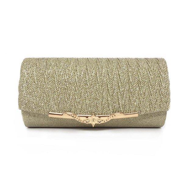 Handtas - Clutch - Goud - Met magneetsluiting en gouden ketting - Avond/Gala/Party