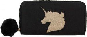 Portemonnee Portefeuille Clutch Dames - Zwart met eenhoorn - 19 x 10 CM - PU Leer - Met Rits