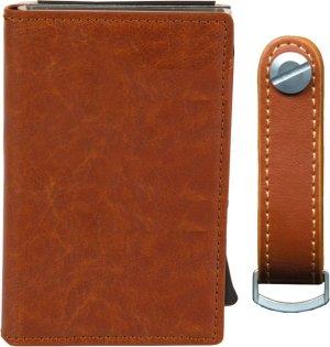 Silvergear Pasjeshouder en Sleutelhouder - Ruimte voor 6 Pasjes en 8 Sleutels - Leer - RFID - Bruin