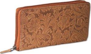 Woodland Dames Portemonnee met Rits rondom - Stijlvolle Bloemenprint - Echt Leer - Cognac