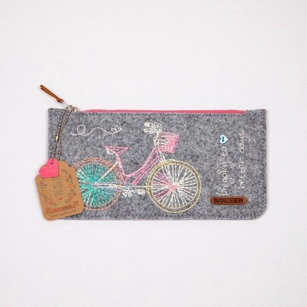 Biggdesign Etui | Vilt Tas met fiets opdruk | Limited Edition Design | Reistas | Fietsopdruk | 23 x 11 cm | Grijs-roze kleur | rits