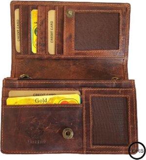 Dames Portemonnee - Harmonica Overslag Model - Portemonnee Bruin - Met RFID - Echt Leer - Buffel Leder