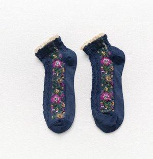 Dames Sokken - 1 paar - Marineblauwe - Vintage - Maat 36 - 41 - Fleurige Bloemen - Comfortabel en Duurzaam