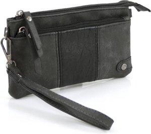 Handige portemonnee - tasje zwart met voorvak