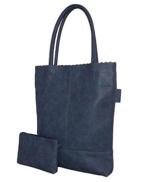 Shopper blauw met kartelrand