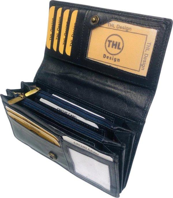 THL Design - Portemonnee Dames - Huishoud - Harmonica overslag model - Echt Leer Donkerblauw