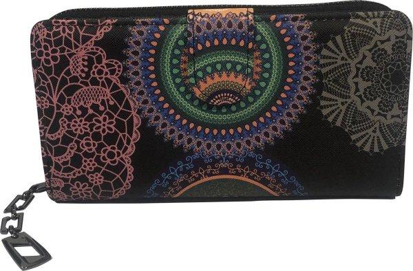 THL Design - Portemonnee Dames - Ritsportemonnee - Grote Dames Portemonnee - Bloemenprint - Zwart Ringen Multicolour
