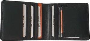 Zwart / oranje leren portemonnee voor mannen - 9 pasjes - Billfold heren - Gadgets mannen - valentijn cadeautje voor hem / vrouw