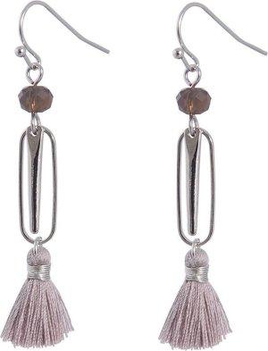 Juleeze Oorbellen JZEA0207 - Zilverkleurig Metaal/textiel Oorbellen DamesOorhangers