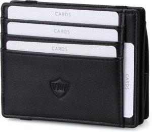Walle Wallet Magic Edition - Luxe Heren Portemonnee van Leer - RFID Wallet voor mannen - Bescherming tegen Buigen & Breken - 10+ pasjes - ruimte voor Biljetten & veel Muntgeld - Zwart
