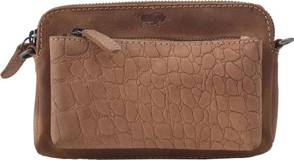 Croco Cody Minibag - Crossbodytas - Crossbody bag - Leren Tasje - Dames Tasje - Lichtbruin - Clutch Portemonnee/Tasje