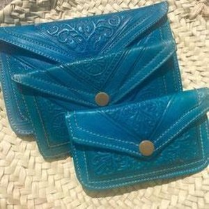 Dames Boho Portemonnee Leer - Blauw maat M