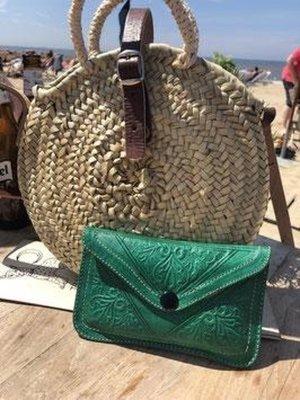 Dames Boho Portemonnee Leer - Groen maat L