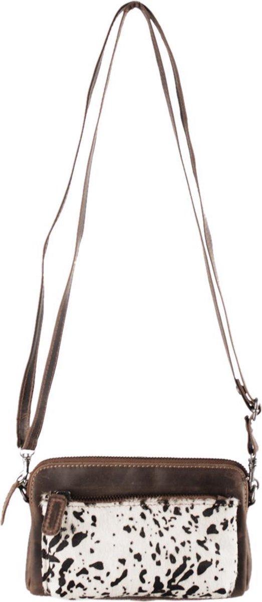 Portemonnee Tasje Met Vacht En Lichtbruin Leer - Cody Minibag Met Print - Lichtbruine Tasje Leer- Lichtbruine Clutch Tasje