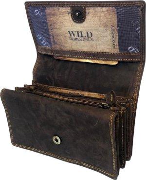 WILD - Portemonnee Dames Leer - Huishoudportemonnee - Harmonica Overslag Model - Veel Ruimte Voor Foto's en Pasjes - Hunter Leer Donkerbruin