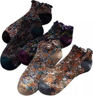 Dames Sokken - 5 Paar - Set - Grijs / Zwart / Paars / Beige / Bruin - Vintage - Maat 36-41 - Fleurige Bloemen - Comfortabel & Duurzaam