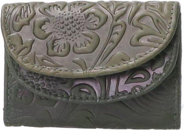 Leather Design Compacte Portemonnee Flower Groen