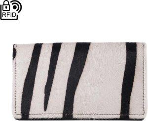 Lederen Dames Portemonnee RFID Donkerbruin Leer Met Dierenprint - Dames Portemonnee Leer Met Vacht