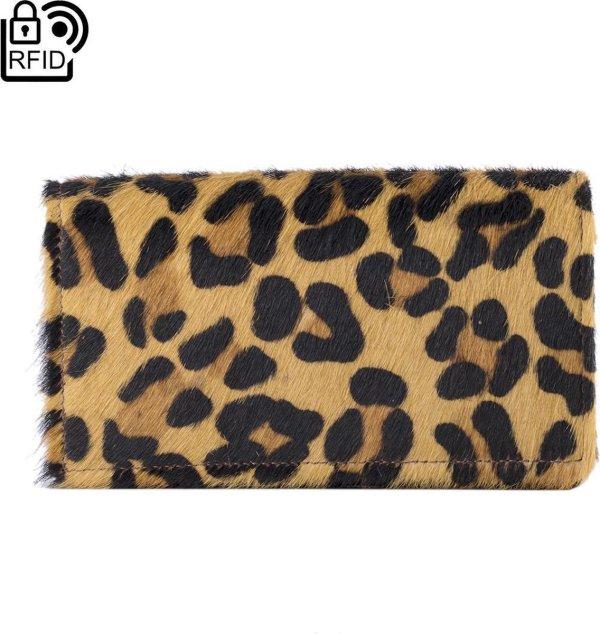 Leren Portemonnee - Portemonnee Dames Zwart Met Dierenprint - Zwarte Dames Portemonnee RFID