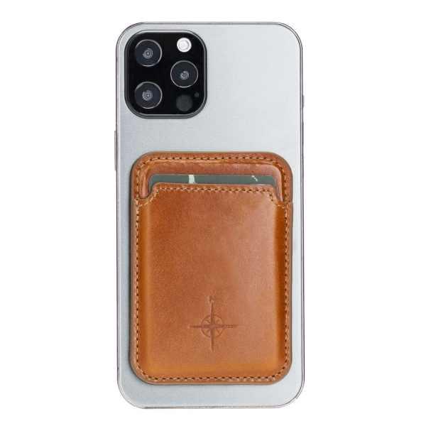 Leren Cardholder / Pasjeshouder Cognac Magsafe (magnetisch) Iphone 12
