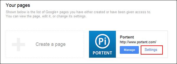 Google+ Page Settings