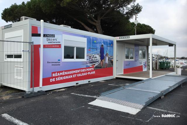 Habillage Algeco du Port de Sérignan par SUDETIC