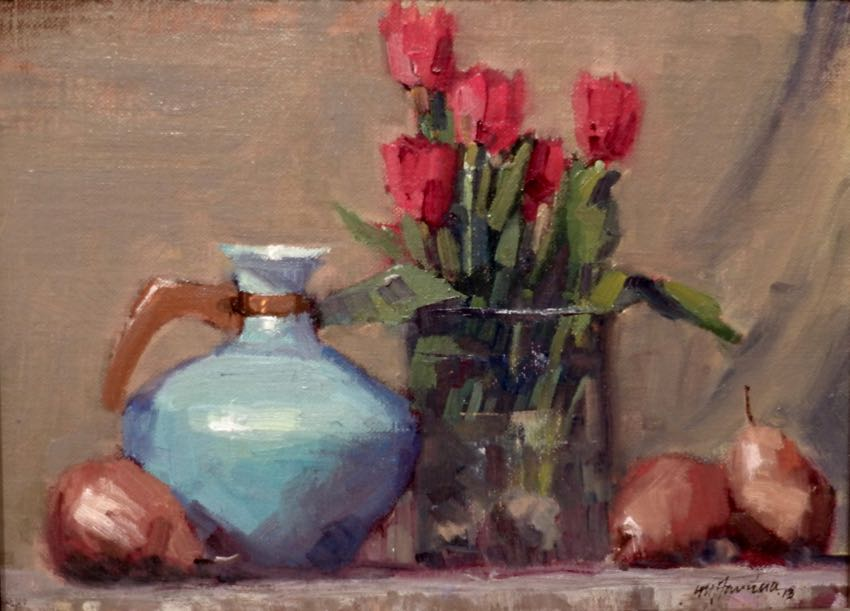 Red Pears And Tulips