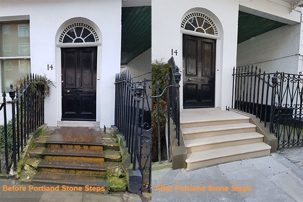 before and after portland stone steps