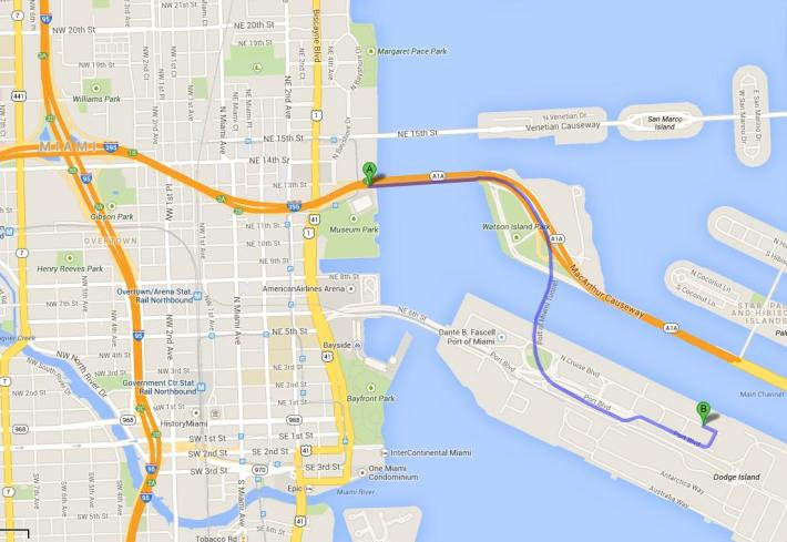 how to find ship departure cruise terminal in miami