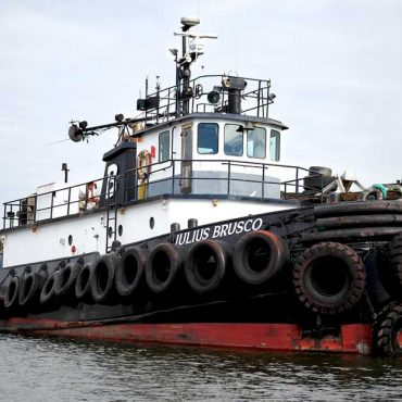 A close-up of a tugboat at the Port of Stockton