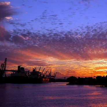 Colorful sunset over the Port of Stockton