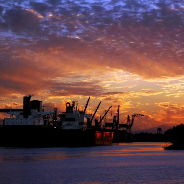 Golden sunset over the Port of Stockton