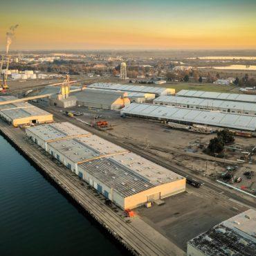 Golden light on the Port of Stockton