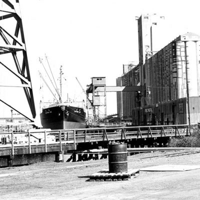 A ship loads grain at the Port of Stockton