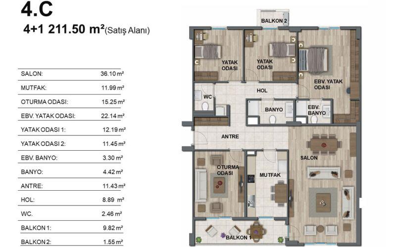 صور مخطط  سور يابي انطاليا (ِSur Yapi) ، كيبيز ، انطاليا   بورتوكوزا العقارية