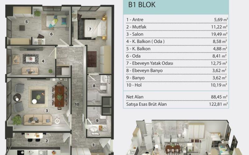صور مخطط 1+1 بسعر 106,687 دولار أمريكي في صفا كوي SEFAKÖY اسطنبول
