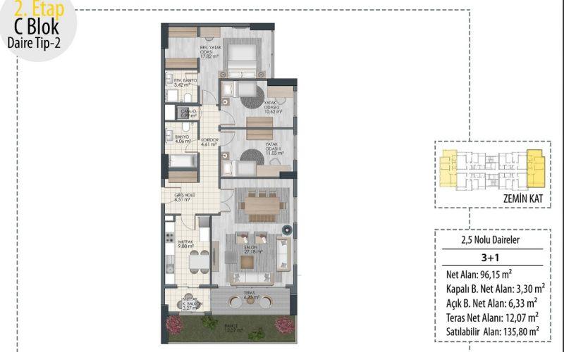 صور مخطط  بياز بارك توبكابي (Beyaz Park Topkapi) ، زيتون بورنو ، حي مالتبه ، اسطنبول | بورتوكوزا العقارية