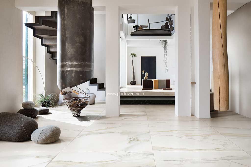 carrelage aspect marbre grand format