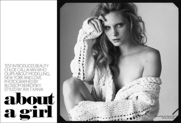 """Chloe Callahan photographed by Blossom Berkofsky in """"About A Girl"""" for Test Magazine 1"""